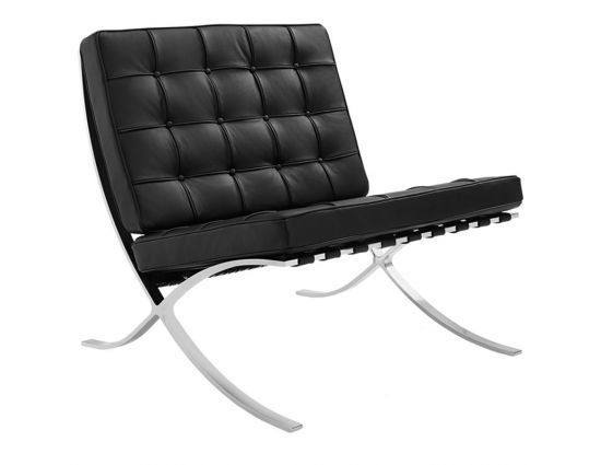 Barcelona expo fauteuil splitleder zwart