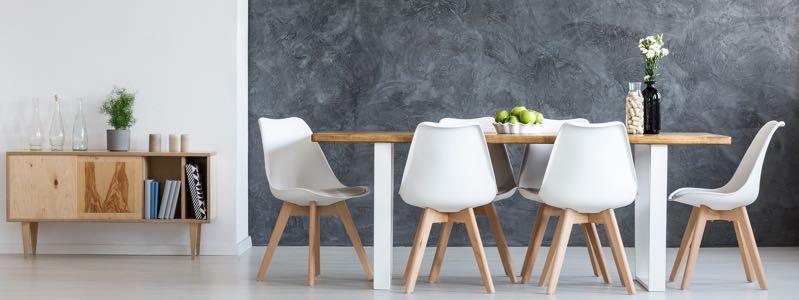 Eetkamertafel hout met witte poten