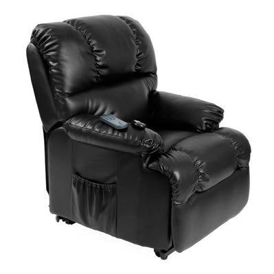 Zwarte relaxfauteuil met massagestand
