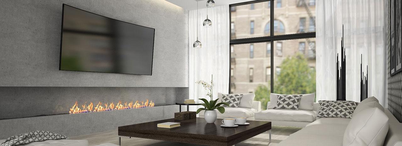 Televisie aan muur woonkamer